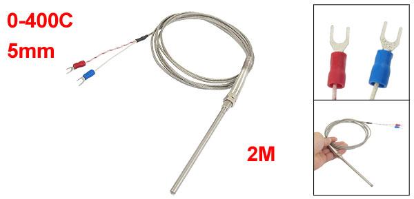 0-400C 100mm x 5mm Probe K Type Thermocouple Temperature Sensor
