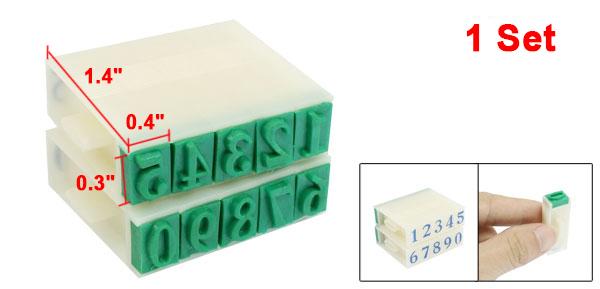 Beige Plastic 0-9 Digits Arabic Numerals Stamp 1 Set