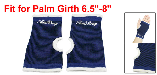Blue Black White Elastic Sleeve Palm Support Brace 2 Pcs