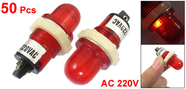 50 x AC 220V 15mm Round Head Red Bulb Power Indicator Signal Pilot Light XD15-2