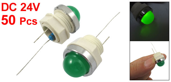 50 Pcs 12mm Threaded 24VDC Green LED Lamp Indicator Pilot Light AD11-12/20