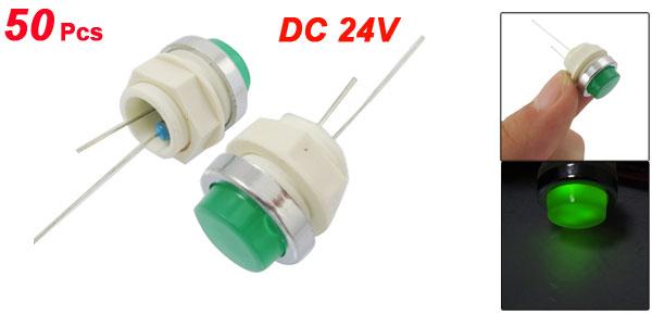 50 Pcs DC 24V 12mm Green Flat LED Power Signal Indicator Pilot Light Lamp
