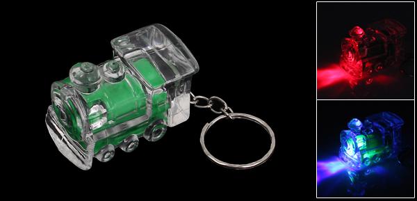 Green Clear Train Design Mini Flashlight Torch Keyring Key Chain