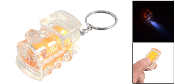 Orange Clear Plastic Train Mini Flashlight Torch Keyring Key Chain