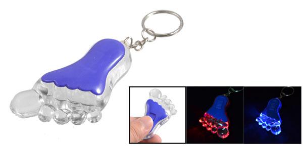 Blue Red Flashing Light Foot Shaped Split Ring Keyring Decor