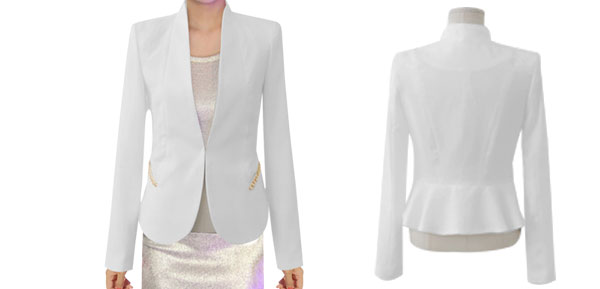 Women White Office Lady Fashion Design Long Sleeve Opening Front Blazer XS