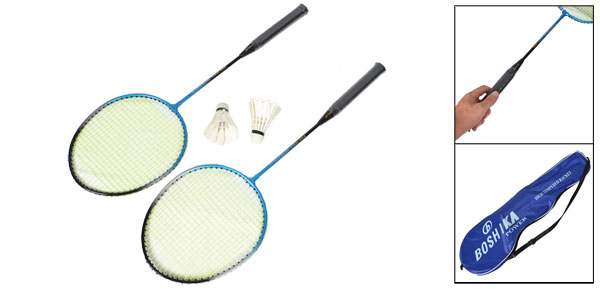 Pair Nylon String Metal Shaft Head Badminton Rackets w Shuttlecocks