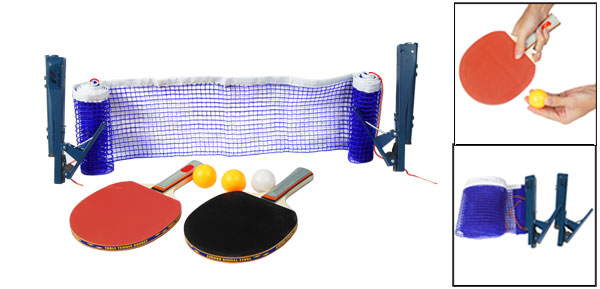 Clamp Standing Post Table Tennis Net Ping Pong Rackets w Three Balls