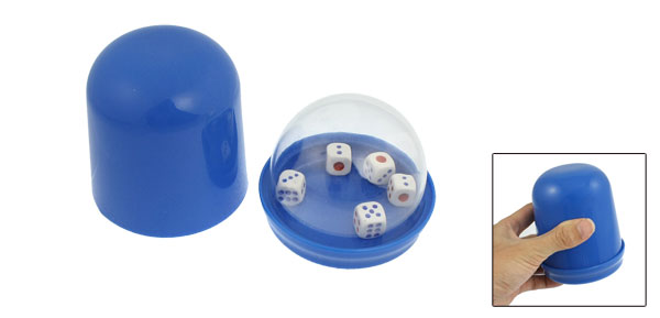 Blue Hand Shaking Guessing Game Tool Plastic Cup w 5 Dices