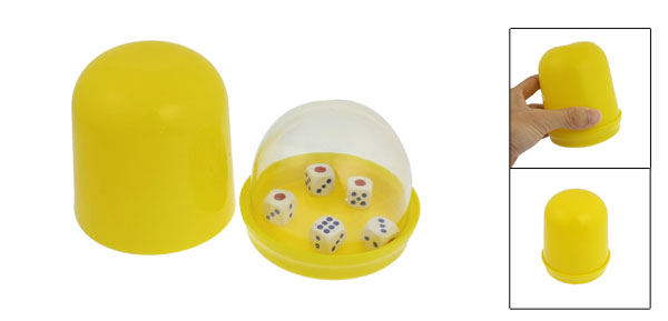 Yellow Hand Shaking Guessing Game Tool Plastic Cup w 5 Dices