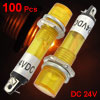 100 Pcs 6.5mm Hole 2 Pins DC 24V Yellow Pilot Light Signal Indica...