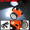 Orange AC 110V 220V US Plug 9 LEDs Head Torch w Charging Cable