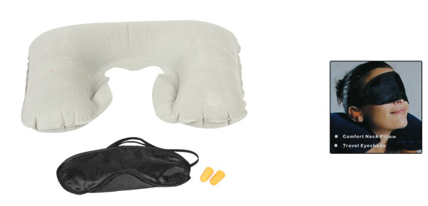 Light Gray Inflating Neck Air Pillow + Black Eye Mask Patch + Pair Ear Connectors