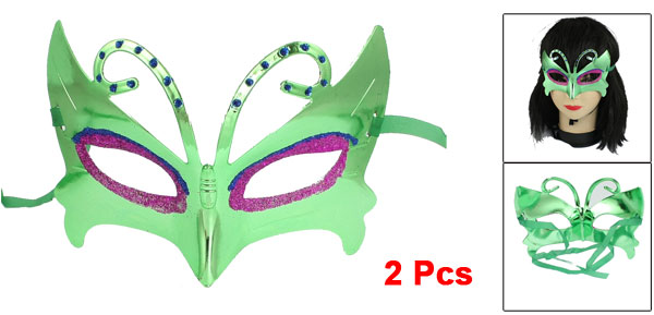 2 Pcs Glittery Fuchsia Blue Powder Accent Cosplay Party Eye Mask Green