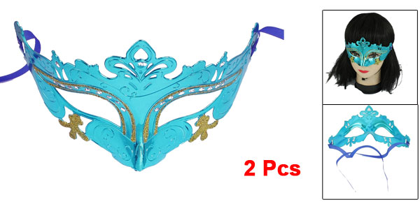 2 Pcs Lady Self Tie Teal Plastic Carnival Party Costume Crown Mask