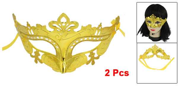 2 Pcs Glittery Powder Decor Gold Silver Two Tone Plastic Fancy Party Eye Mask
