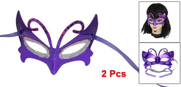 2 Pcs Masquerade Party Red Silver Tone Powder Detail Eye Mask Purple