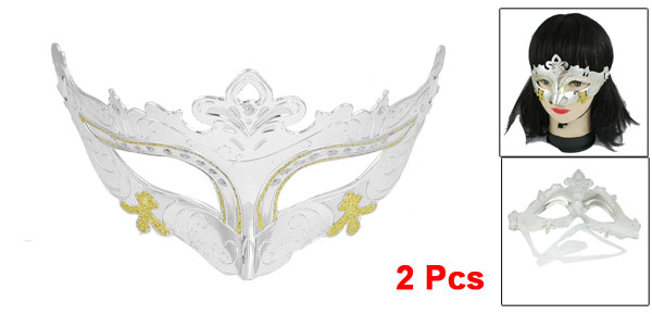 2 Pcs Self Tie Ribbon Silver Tone Carnival Party Costume Crown Mask