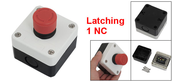 NC Red Emergency Stop Sign Latching Push Button Switch Station 600V 10A