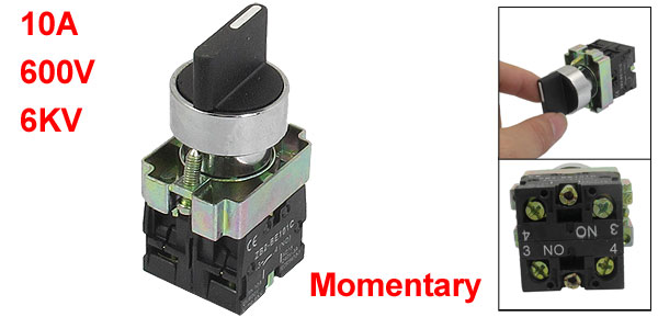 22mm Momentary 2 NO Three 3-Position Rotary Selector Select Switch ZB2-BD53