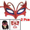 2 Pcs Green Blue Powder Detailing Self Tie Fancy Party Eye Mask Red for Woman