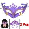 2 Pcs Fancy Party Yellow Silver Tone Powder Detail Eye Mask Purpl...