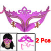 2 Pcs Fuchsia Plastic Carnival Party Costume Crown Mask for Ladies