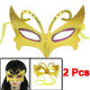 2 Pcs Fuchsia Green Powder Decor Yellow Plastic Fancy Party Eye Mask