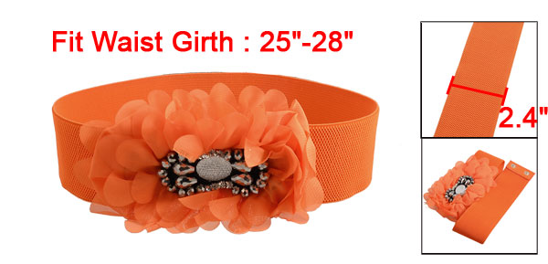 Women Beaded Ruffle Flower Textured Elastic Waist Belt Band Orange