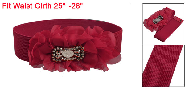 Women Dark Red Nylon Ruffle Flower Wide Elastic Waist Belt for Dress