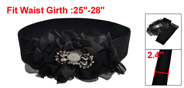Women Black Nylon Ruffle Flower Wide Elastic Waist Belt Band for Dress