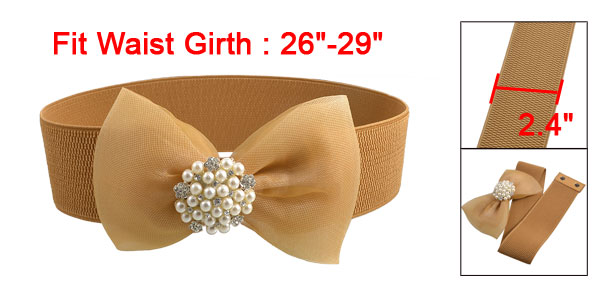 Woman Plastic Pearl Bow Press Stud Textured Elastic Waist Belt Brown