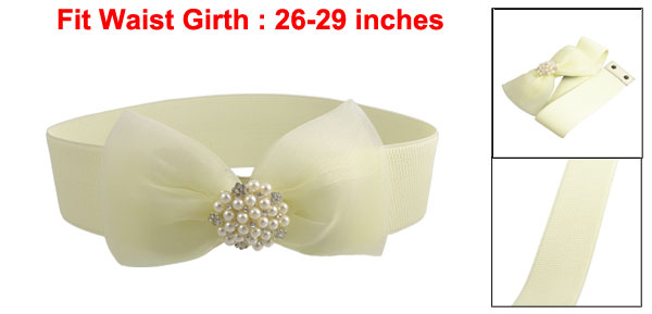 Woman Plastic Pearls Bowtie Press Stud Textured Elastic Waist Belt Off White