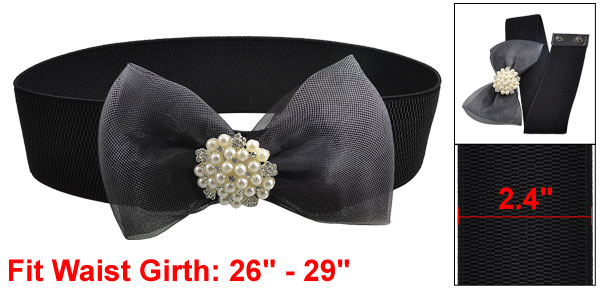 Women Cluster Faux Pearl Mesh Bowtie Wide Elastic Waist Belt Band Black