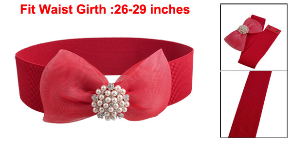 Women Dark Red Meshy Bowknot Faux Rhinestone Stretch Belt Waistband