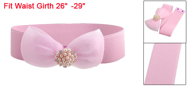 Women Cluster Faux Pearl Mesh Bowtie Dress Elastic Waist Belt Band Pink