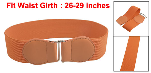 Women Faux Leather Bowtie Hook Buckle Stretch Waist Cinch Belt Orange