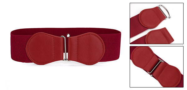 Women Dark Red Faux Leather Bowtie Hook Buckle Stretch Waist Cinch Belt