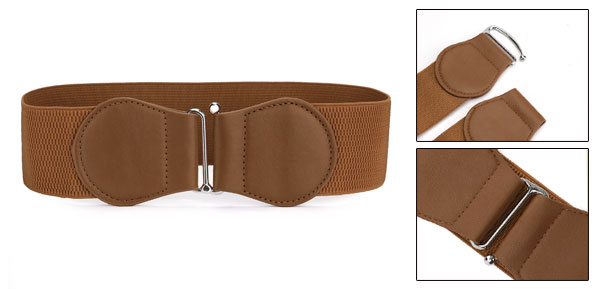 Women Bowknot Hook Interlock Buckle Textured Stretchy Waist Belt Brown