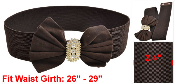 Women Faux Rhinestone Coffee Color Bowtie Bow Textured Elastic Waist Belt