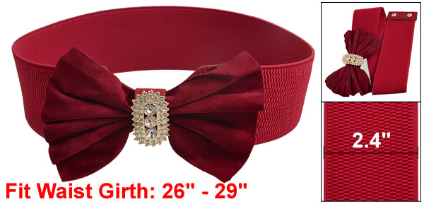 Women Faux Rhinestone Dark Red Bowtie Textured Elastic Waist Belt