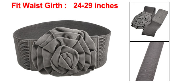 Lady Hook Interlock Buckle Floral Gray Elastic Waist Belt Waistband