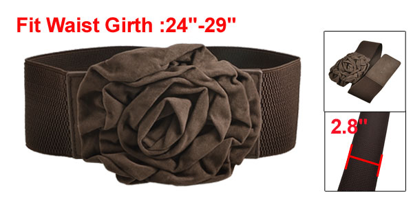 Women Flannel Flower Textured Elastic Wide Waist Cinch Belt Coffee Color