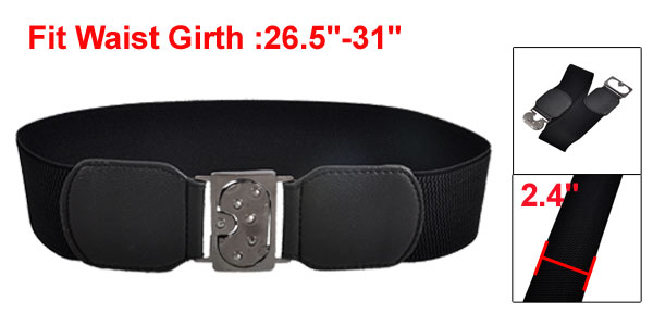 Metal Interlocking Buckle Stretch Waist Belt Waistband Black for Women