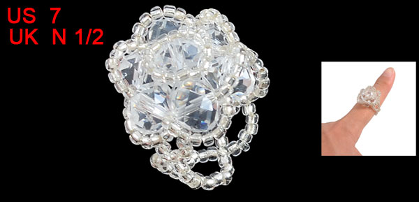 Women Transparent Plastic Crystal Round Bead Flower Cluster Ring US 7