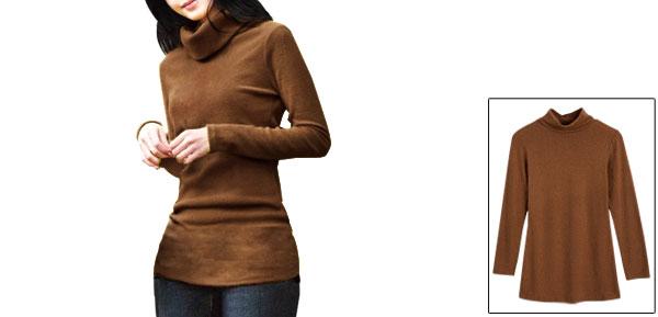 Allegra K Lady Long Sleeve Turtle Neck Wrap Back Stretch Autumn Blouse Khaki XS