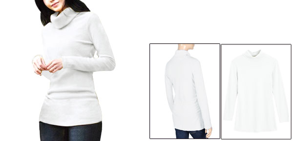 Allegra K Lady Long Sleeve Straight Fitting Cut Stretch Autumn Blouse White XS