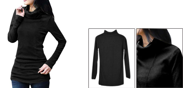 Allegra K Lady Turtle Neck Long Sleeve Straight Fit Cutting Cable Shirt Black XS