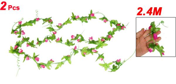 Artificial Pink Flower Bud Hanging Vine 2 Pcs for Festivals Wedding