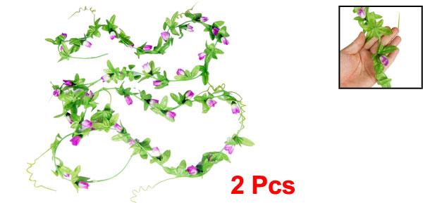 Home Wall Decor 7.87Ft Artificial Purple Mangnolia Flower Bud Hanging Vine 2 Pcs